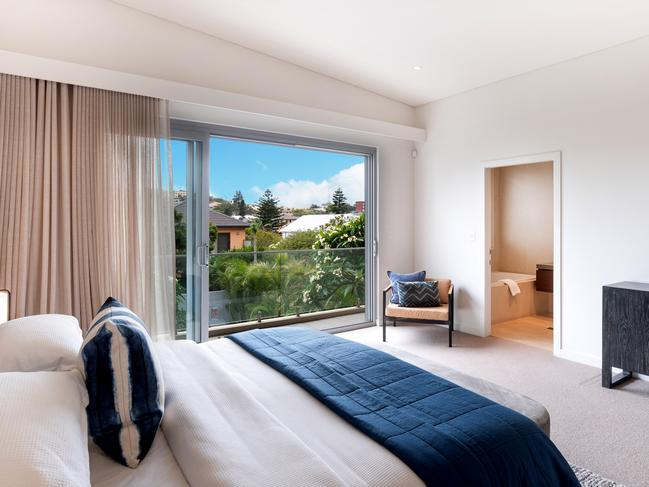 The master suite has district views.