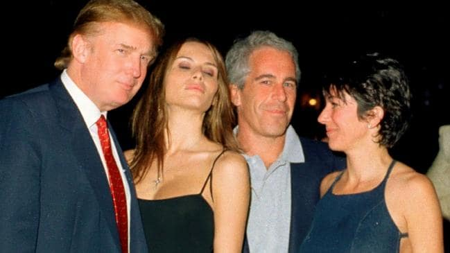Donald Trump and wife Melania with Epstein and British socialite Ghislaine Maxwell at the Mar-a-Lago club in 2000. Picture: Davidoff Studios/Getty Images
