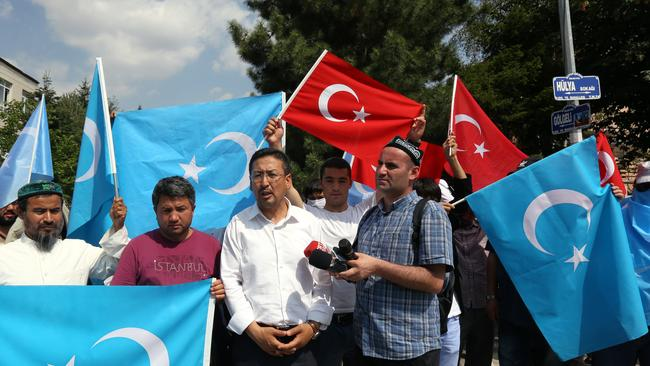 Uighurs protesting in Turkey against the Thai government's decision to repatriate the 109 Uighurs to China. Picture: AP/Burhan Ozbilici