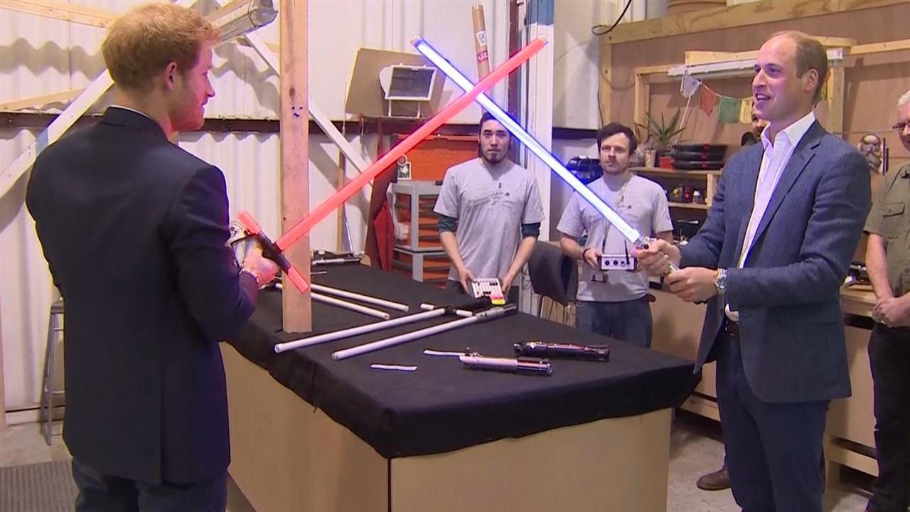 Prince's William and Harry Do Battle on Star Wars Set