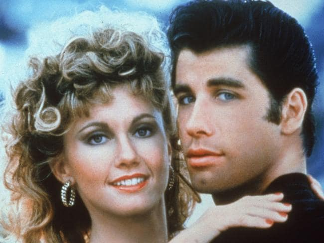 Newton-John and Travolta as Sandy and Danny in the promotional picture for Grease. Picture: Paramount Pictures/Fotos International/Getty Images