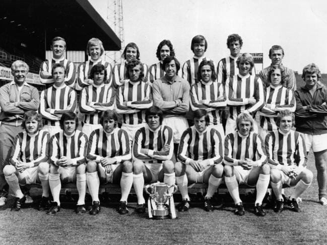 The Stoke City team with the League Cup trophy.