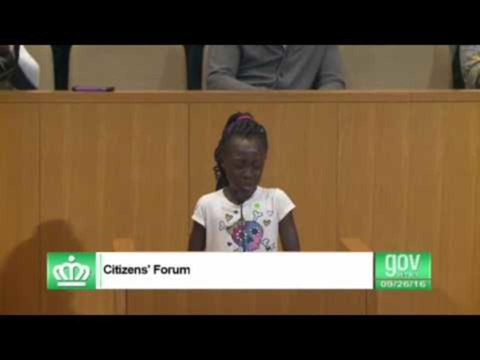 Young Charlotte Girl Delivers Tearful Speech to City Council