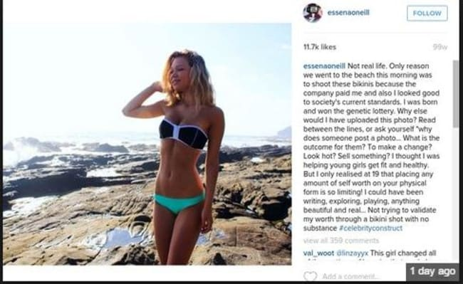 Essena O'Neill posts that she is quitting Instagram.