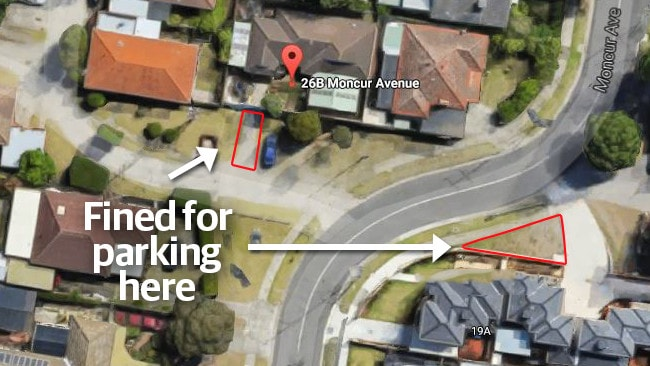 A map showing where people in a Springvale street were fined for parking in their driveways or on the nature strip.