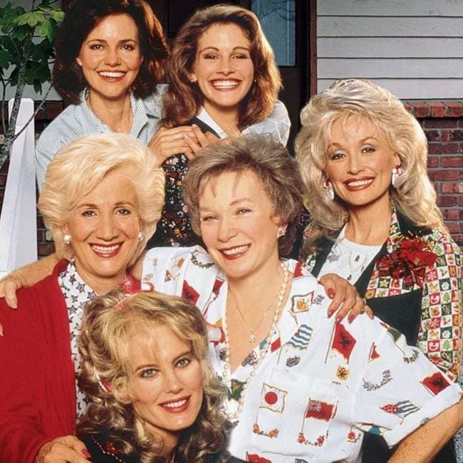 Julia Roberts (top, centre) with the cast of Steel Magnolias.