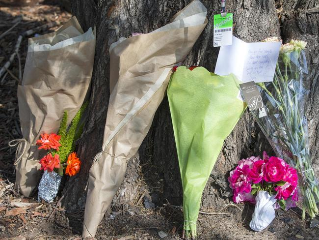 Flowers at the scene of the horror crash. Picture: Sarah Matray