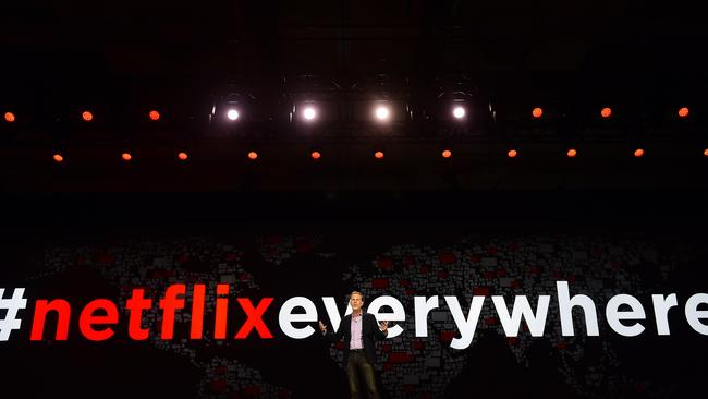 Netflix CEO Reed Hastings gives a keynote address in January.