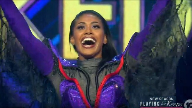Paulini was unmasked during Tuesday night's Masked Singer semi-final. Picture: Channel 10.