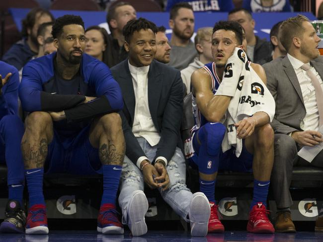 Markelle Fultz sat on the bench after telling his team he wasn't up to playing.
