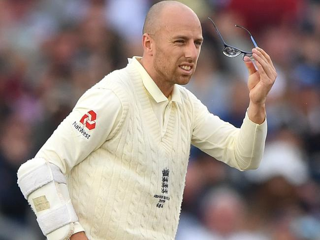 England batsman Jack Leach cleans his glasses during day five of the 4th Ashes Test.