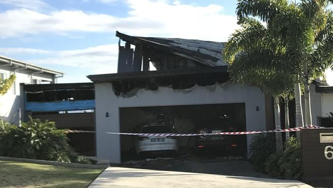 The Reedy Creek home gutted by fire after a barbecue caught alight last night. Photo: Emily Halloran
