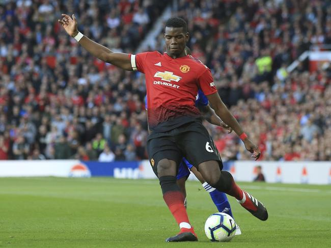 Pogba sends in a cross against Leicester City at Old Trafford. Picture: AP