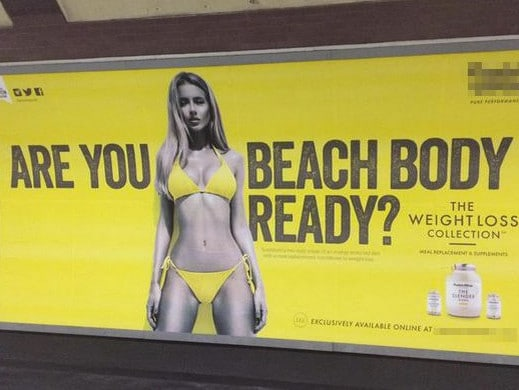 Aussie model Renee Somerfield in Protein World's much-maligned ad. Picture: Supplied