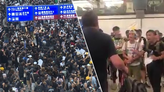 Hong Kong: Protesters smack down angry Aussie tourist during airport shutdown