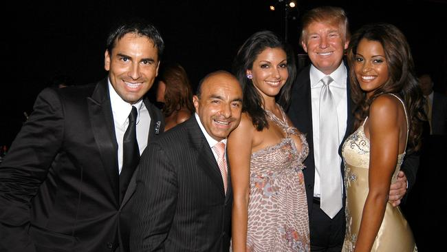 Micky Flores, Giovani 'The Margarita King', Sonia Vera, Donald Trump and Claudia Jordan attend 55th Annual Miss Universe Competition at The Shrine Auditorium. The footage was taken a day later at the post-party. Picture: Patrick McMullan