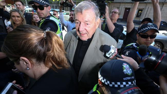 George Pell's bail was revoked on Wednesday and he will remain behind bars until his sentencing in two weeks. Picture: AFP