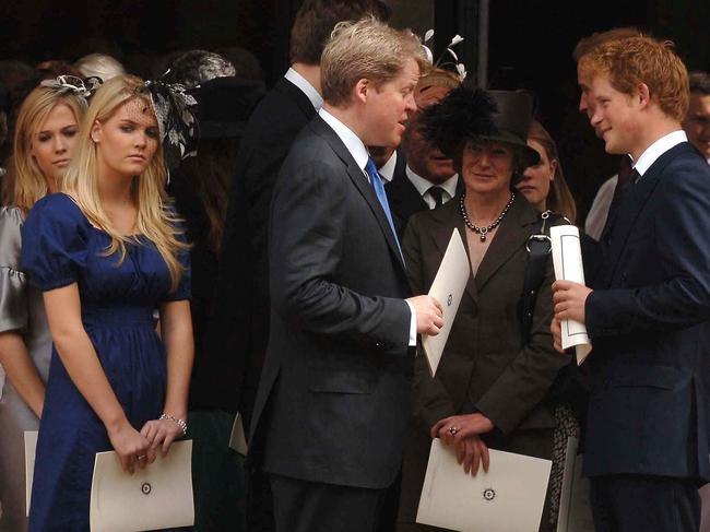 Lady Kitty Spencer, Earl Spencer and Prince Harry at a memorial service for the 10th anniversary of Diana's death. Picture: Camera Press