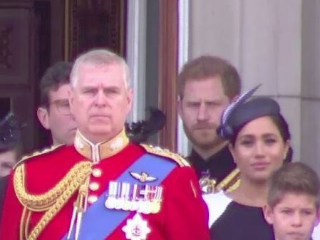 Harry and Meghan had a tense moment at Trooping the Colour. Picture: Supplied