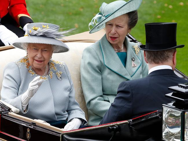 The Queen, Princess Anne, and Prince Andrew at Ascot. Picture: AFP