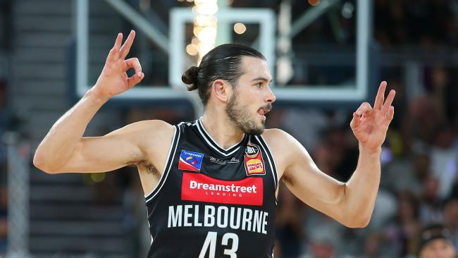 Chris Goulding of Melbourne United celebrates after shooting a three pointer during the round 19 NBL match between Melbourne United and the Illawarra Hawks at Hisense Arena