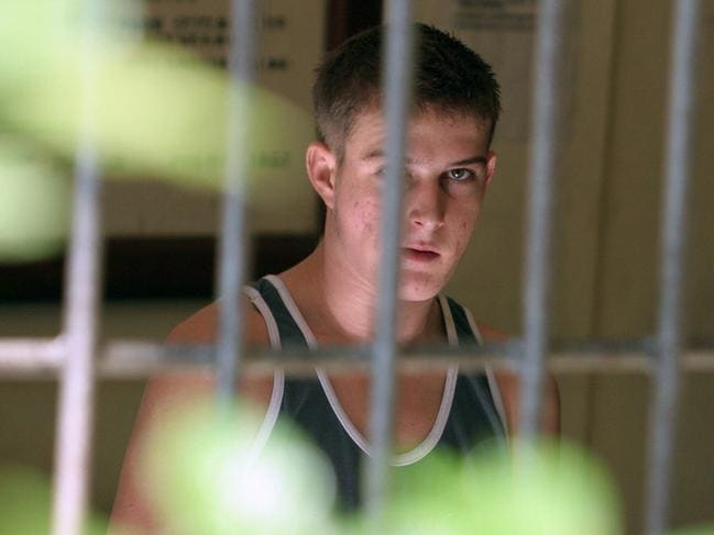 Michael William in a Bali Police HQ cell in 2005 soon after his arrest. Picture: Lukman S Bintoro.