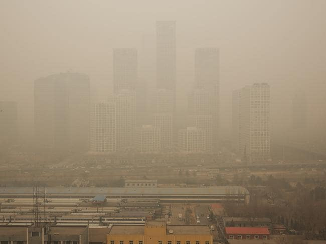 Pollution covers Beijing CBD on February 25, 2014. Picture: Lintao Zhang/Getty Images