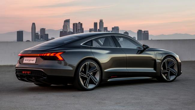 The e-tron GT features a swoopy coupe roofline.