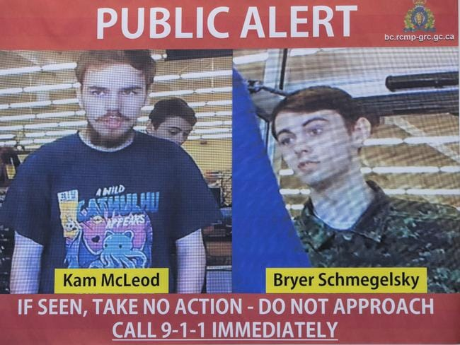 McLeod and Schmegelsky as they appeared in their wanted posted, issued on July 23 — some 24 hours after they were let go by a First Nations officer unaware of their murder suspect status. Picture: RCMP