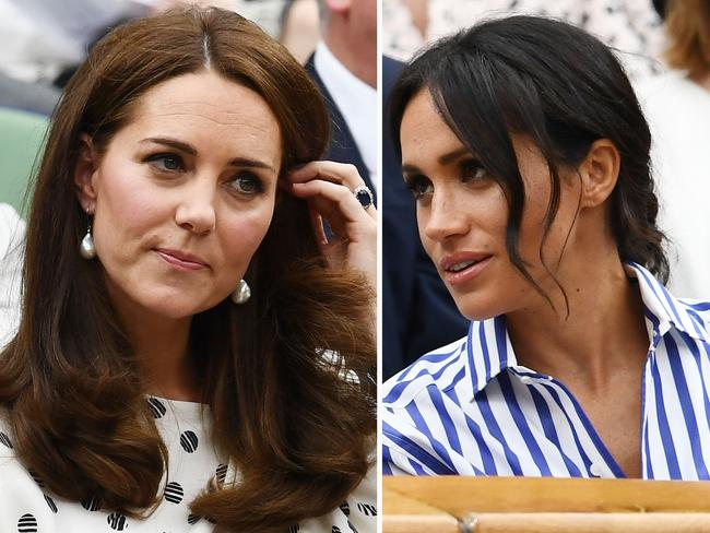 Catherine, Duchess of Cambridge and Meghan, Duchess of Sussex attend day twelve of the Wimbledon Lawn Tennis Championships in 2018. Picture: Clive Mason/Getty Images.