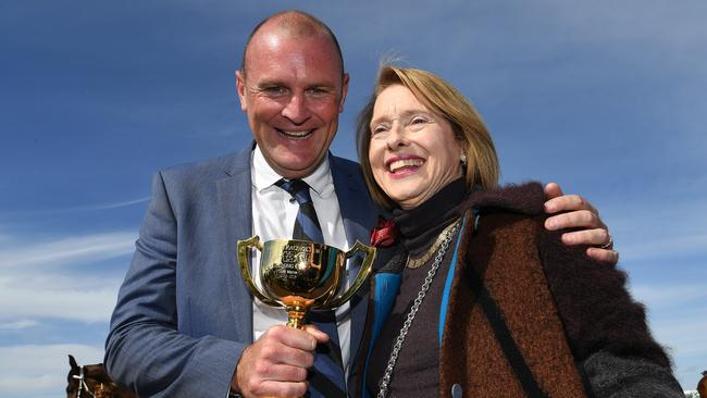 Runaway owner Anthony Mithen and Gai Waterhouse after the horse won the Geelong Cup. Picture: AAP