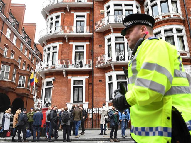 Media congregate outside the Embassy of Ecuador in London in January. Picture: AFP/Justin Tallis