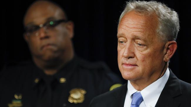 Hamilton County Prosecutor Joseph Deters, right, speaks alongside Cincinnati Police Chief Eliot Isaac, left, during a news conference to discuss cases linked to Samuel Little. Picture: AP Photo/John Minchillo