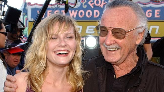 Spider-Man star Kirsten Dunst with Lee in 2002.