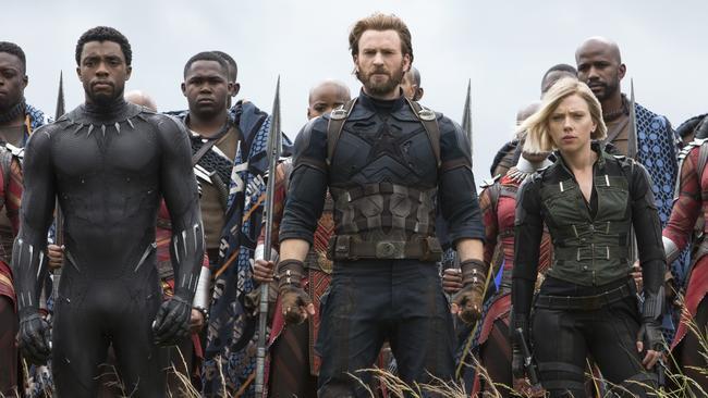 Avengers assemble … Black Panther (Chadwick Boseman), Captain America (Chris Evans) and Black Widow (Scarlett Johansson) return in Avengers: Infinity War. Picture: Chuck Zlotnick/Marvel Studios