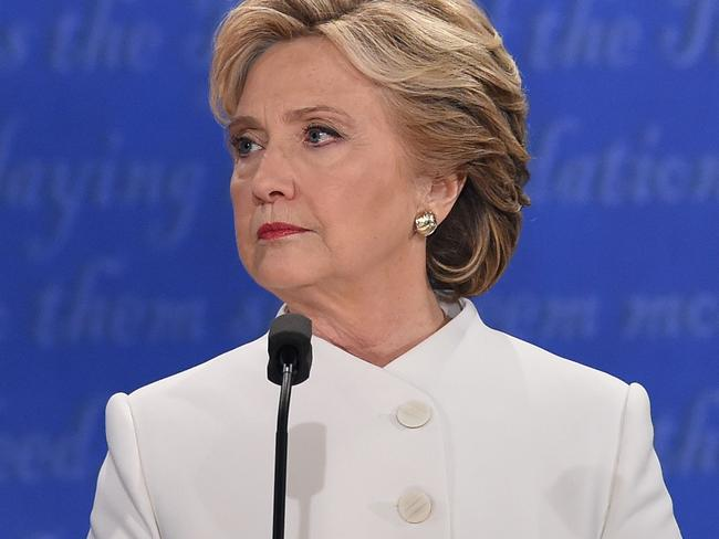 The Democratic nominee throws Trump a withering look. Picture: Robyn Beck/AFP