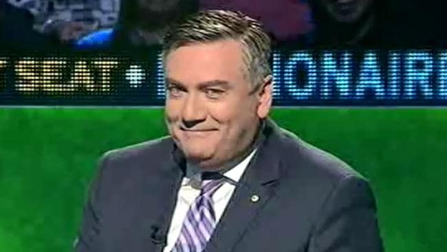 Awkward ... show host Eddie McGuire can barely contain his amusement. Picture: Supplied