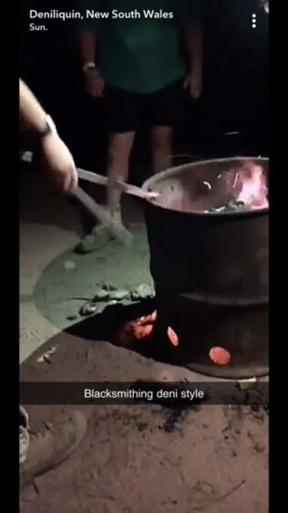 Blacksmithing at the Ute Muster. Picture: Snapchat