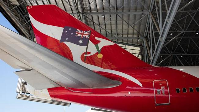 "Down but not out. The ""prettied up"" Boeing 747 that Qantas intended to use to bring Australia's Olympic athletes home. Picture: Brett Winstone"