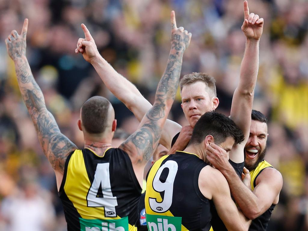 Richmond's Jack Riewoldt celebrates a goal against the GWS Giants in the 2019 AFL Grand Final. This year's Grand Final is set to be played in Brisbane. Picture: Darrian Traynor/AFL Photos/via Getty Images