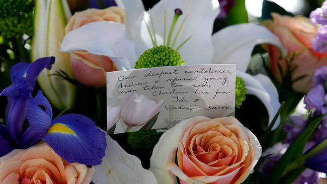Flora tributes at Chan's Sydney funeral.