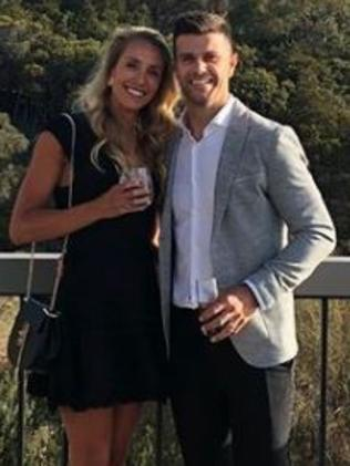 Trent Cotchin and wife Brooke at Jack Riewoldt's wedding. Picture: Supplied/Instagram