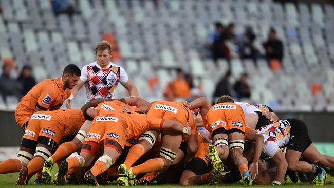 A scrum between the Cheetahs and Kings in Bloemfontein.