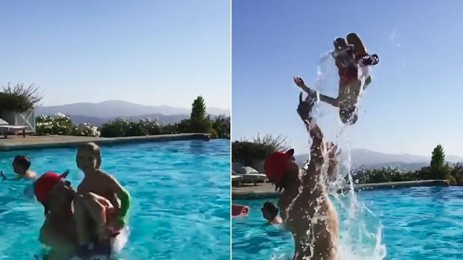 Jessica Simpson's son does backflip in pool
