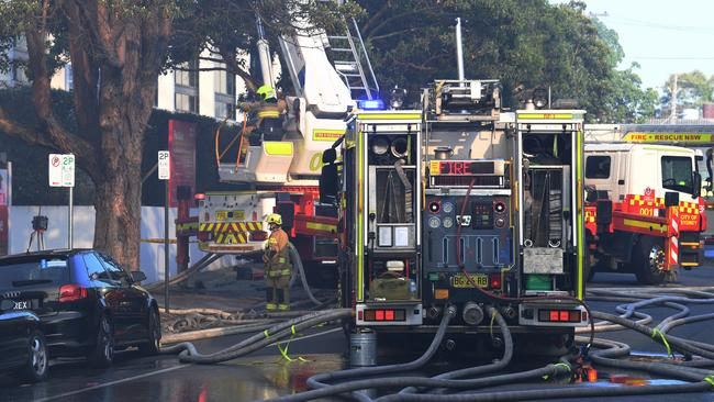 Firefighters continue to control a blaze at the scene of a large factory fire in Alexandria, Sydney, Tuesday, October 29, 2019. Picture: Dean Lewins/AAP