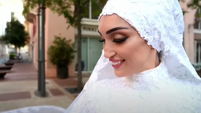 Israa Seblani, 29, was shooting her wedding video when the blast hit. Picture: Mahmoud Nakib