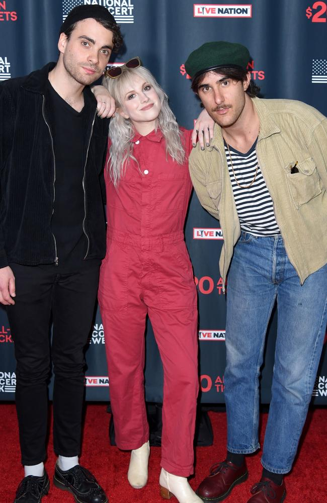 Taylor York, Hayley Williams, and Zac Farro of Paramore in 2018. Picture: Getty.
