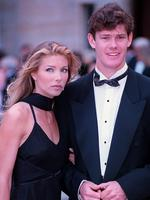 Businessman James Packer with friend, model Jennifer Flavin at Rose Bay Convent for wedding of Georgia Moxham to Paul Stenmark.