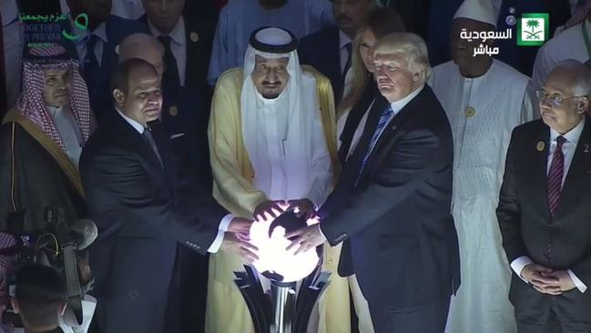 Egyptian President Abdel Fattah el-Sisi, Saudi Arabia's King Salman and US President Donald Trump at the opening of the Global Centre for Combating Extremist Ideology in Riyadh, Saudi Arabia.