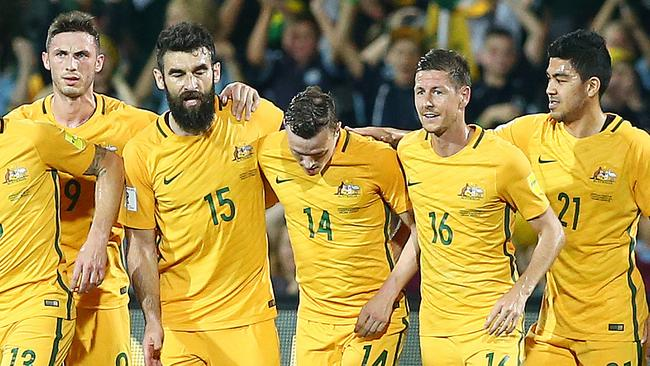 The Socceroos hammered Tajikistan at Adelaide Oval in March. Picture: Sarah Reed.